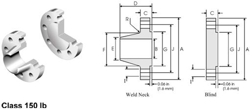 ANSI-ASME-B16-47-Flange-Series-B-API-605-Flange-Dimensions-150lb