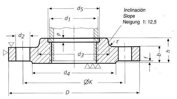 DIN-2569-PN100-BSPT-Threaded-Flanges-with-Neck-Dimensions