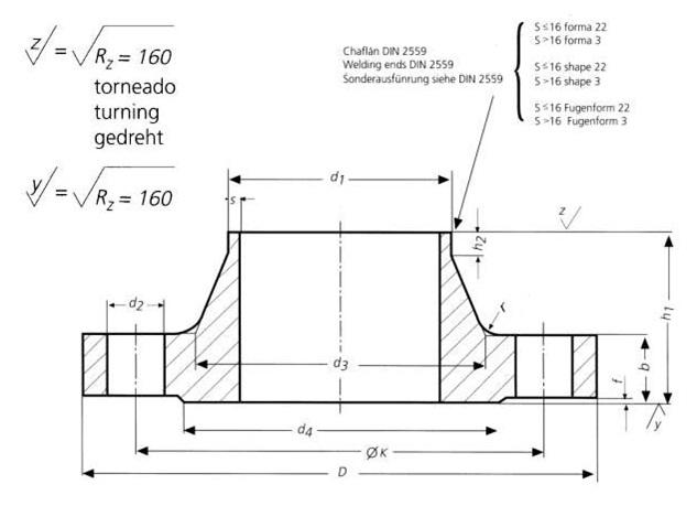 DIN-2633-PN16-Welding-Neck-Flanges-Dimensions