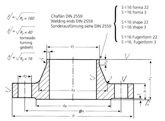 DIN-2638-PN160-Welding-Neck-Flanges-Dimensions