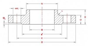 Dimesions-of-hubbed-slip-on-flanges-EN-1092-1-PN100